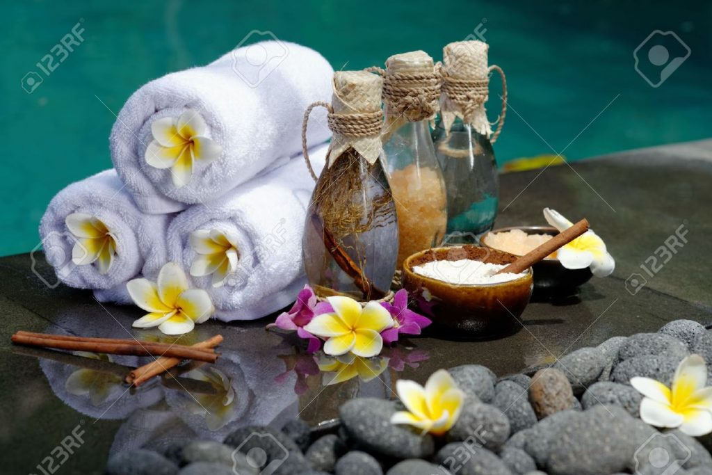 24976524-At-the-Spa-concept-in-a-luxury-Villa-on-Bali-Island-with-Massage-oil-bath-salt-Volcanic-stones-body–Stock-Photo